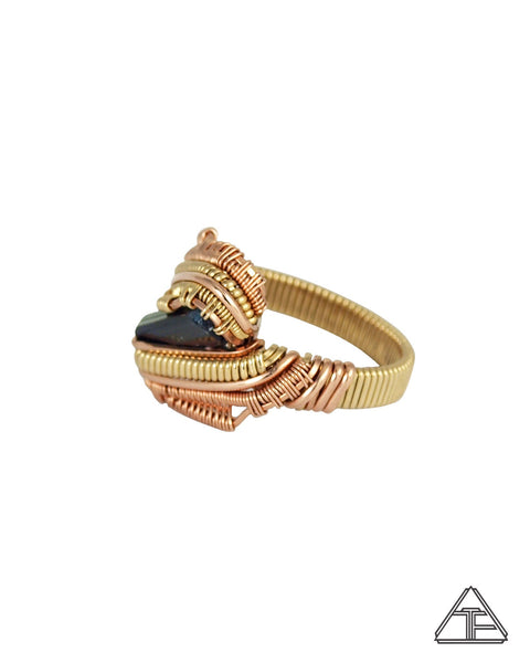 Size 7.5 - Tourmaline 14K Rose Gold and Yellow Gold Wire Wrapped Ring