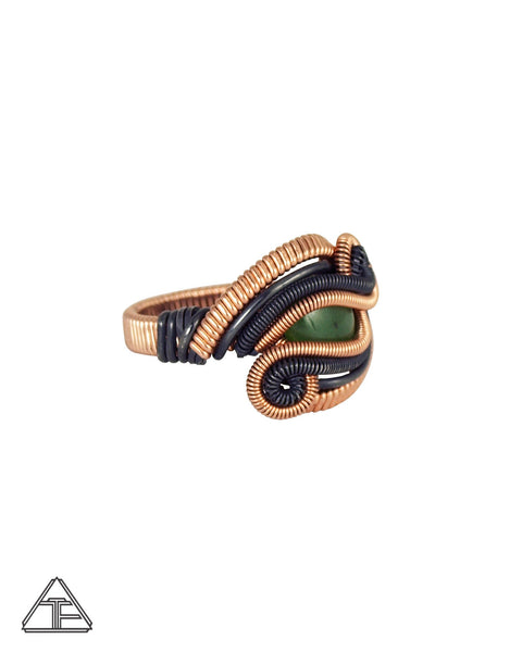 Size 7 - Jade 14K Rose Gold and Sterling Silver Wire Wrapped Ring