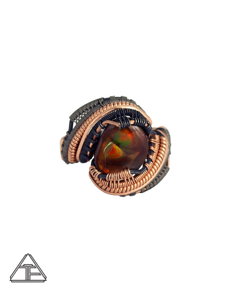 Size 8 - Fire Agate 14K Rose Gold and Titanium Wire Wrapped Ring