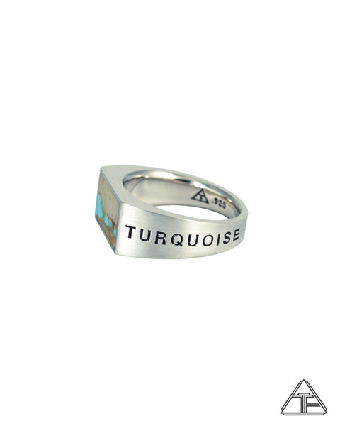 Lux Signet Ring: Engraved with Turquoise Ribbon Inlay