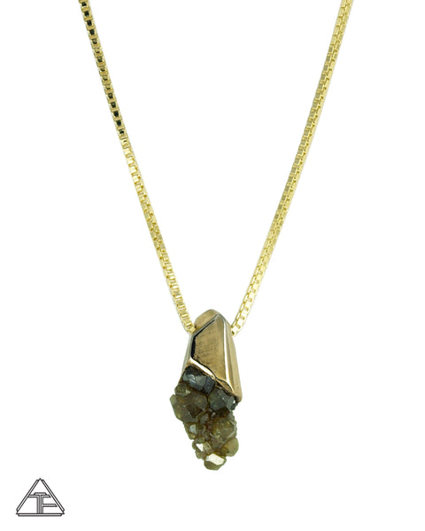 Demantoid Garnet Cluster Yellow Gold Crystal Talisman Pendant