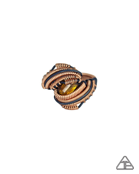 Size 9.5 - Sphene 14K Rose Gold and Sterling Silver Wire Wrapped Ring