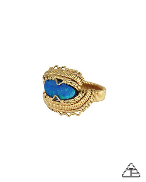 Size 8.5 - Opal 14k Yellow Gold Wire Wrapped Ring