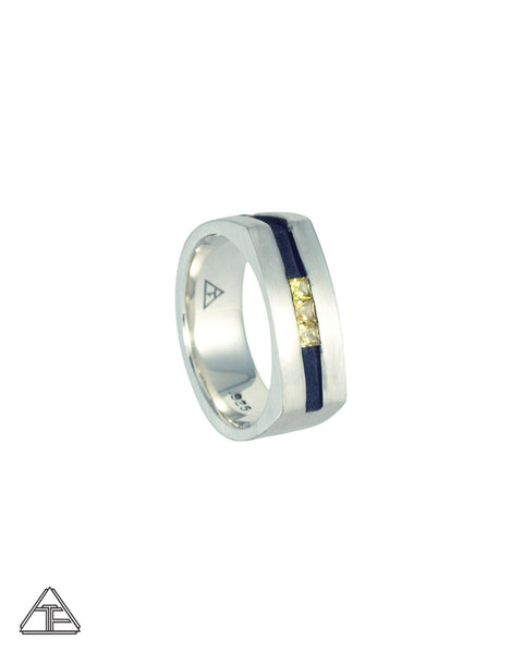 Lux Camber: Custom Sterling Silver Band with Sapphire