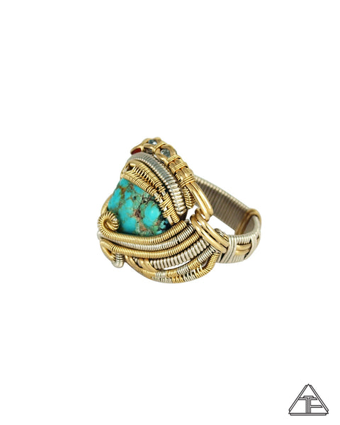 Size 11 - Turquoise Yellow Gold and Sterling Silver Wire Wrapped Ring