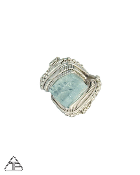 Size 8.5 - Aquamarine Sterling Silver Wire Wrapped Ring