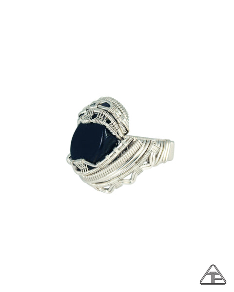 Size 11 - Ebony Sterling Silver Wire Wrapped Ring