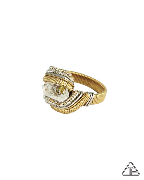Size 9.5 - Oil Included Quartz Yellow Gold and Sterling Silver Wire Wrapped Ring