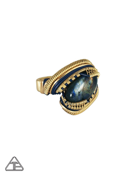 Size 10 - Labradorite 14K Yellow Gold and Sterling Silver Wire Wrapped Ring