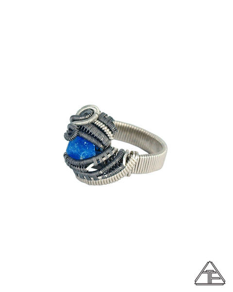 Size 7.5 - Neon Blue Apatite Sterling Silver and Titanium Wire Wrapped Ring