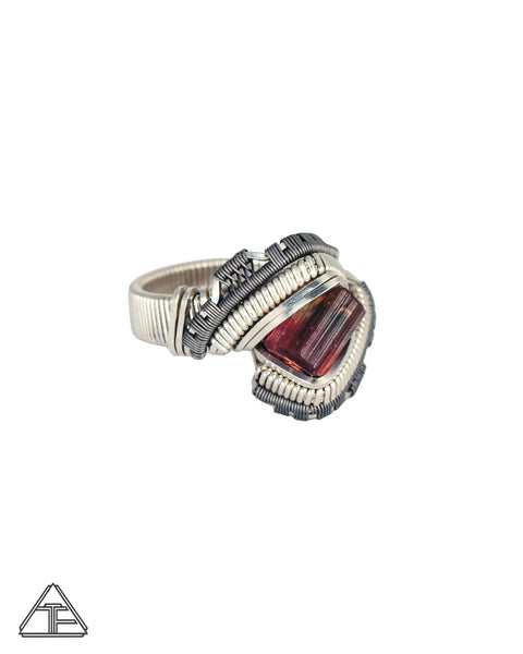 Size 7.5 - Nigerian Tourmaline Sterling Silver and Titanium Wire Wrapped Ring