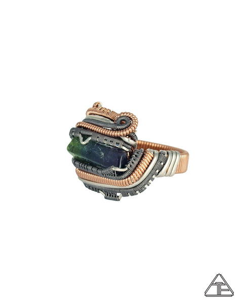 Size 10 - Tri-Color Tourmaline Rose Gold Silver and Titanium Wire Wrapped Ring