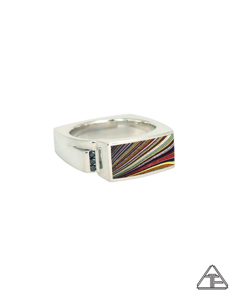 Lux Ring: Sterling Silver Black Diamond Fordite Inlay