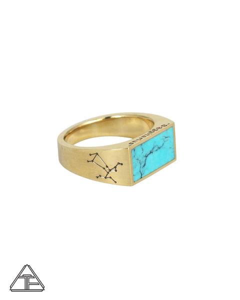 Astrology: Sagittarius Turquoise Inlay Zodiac Signet Ring