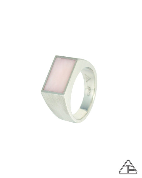 Signet Ring: Pink Opal Inlay