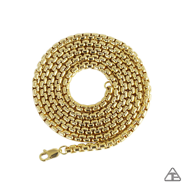 14k Yellow Gold Rounded Box Chain 3.7mm