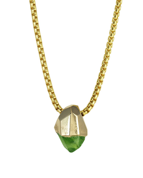 Large Peridot 14k Yellow Gold Crystal Talisman Pendant