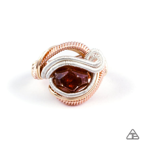 Size 7.5  - Vesper Peak Garnet Sterling & Rose Gold Wire Wrapped Ring