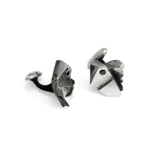 Prism Lattice: Sterling Silver Cufflinks Black Diamond