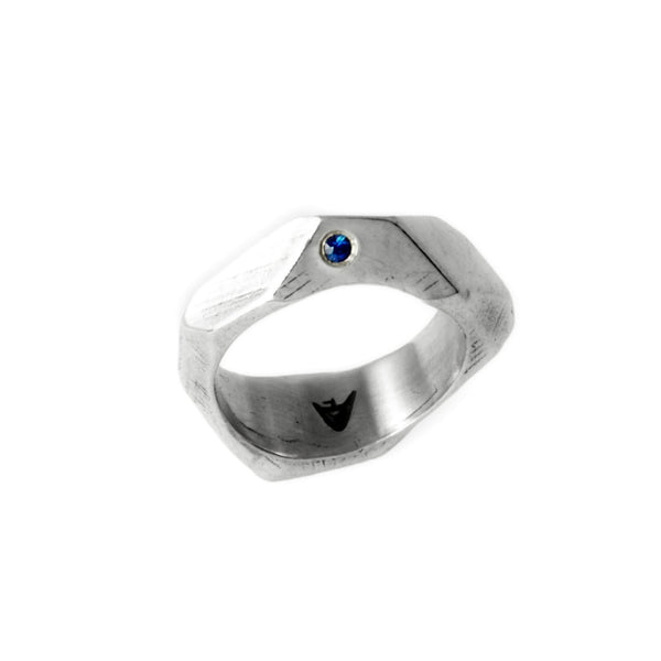 Lattice: Sterling Silver Ring with Blue Sapphire