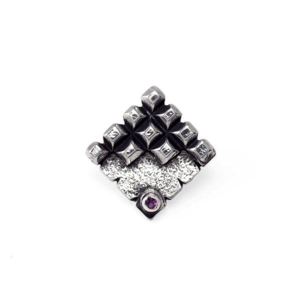 Hedron: Sterling Silver Pin Amethyst