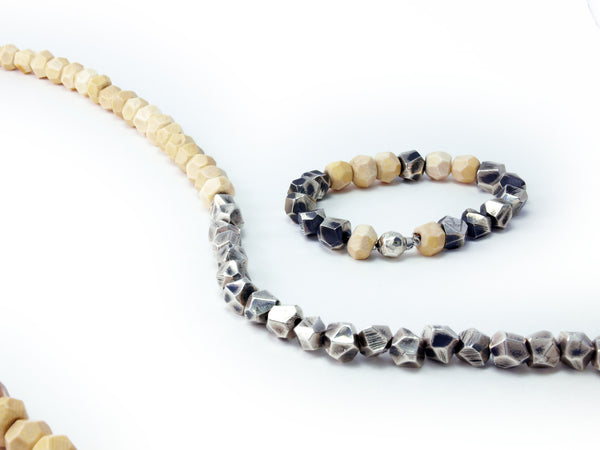 Lattice: Sterling Silver Chain Bracelet Woolly Mammoth Ivory