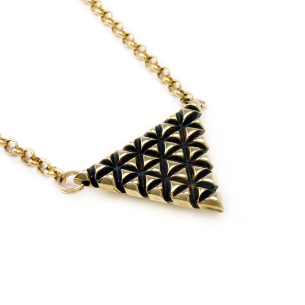 Axis Lattice: Brass Pendant + Chain