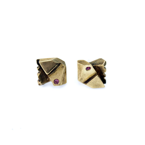 Prism Lattice: Brass Studs Rhodolite