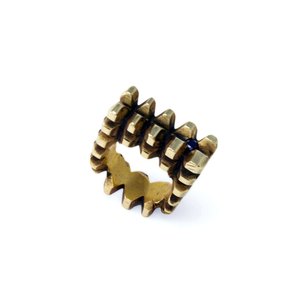 Hedron Lattice: Brass Ring Black Spinel