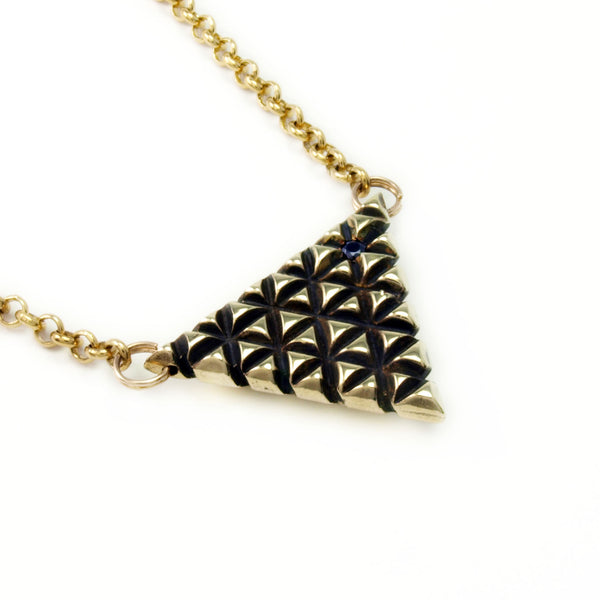 Axis Lattice: Brass Pendant + Chain Black Spinel