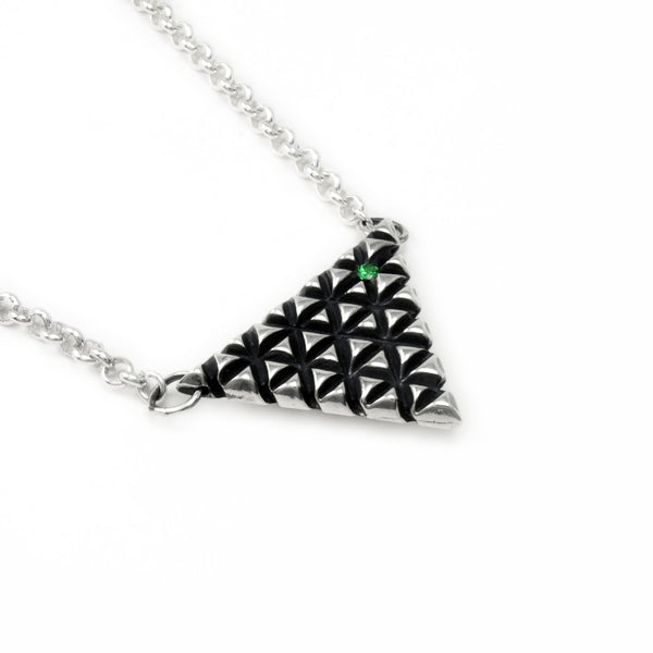 Axis Lattice: Sterling Silver Pendant Tsavorite