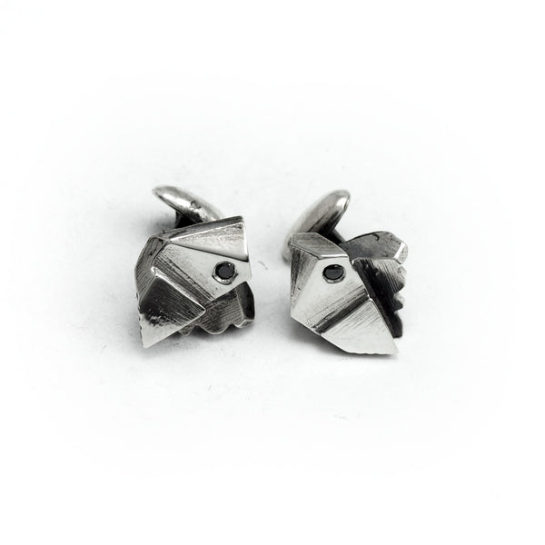 Prism: Sterling Silver Cufflinks Black Spinel