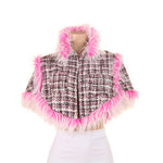 1005 Pink Tweed Cappa with Pink & White Faux Fur Trim - Kali Ku - 1