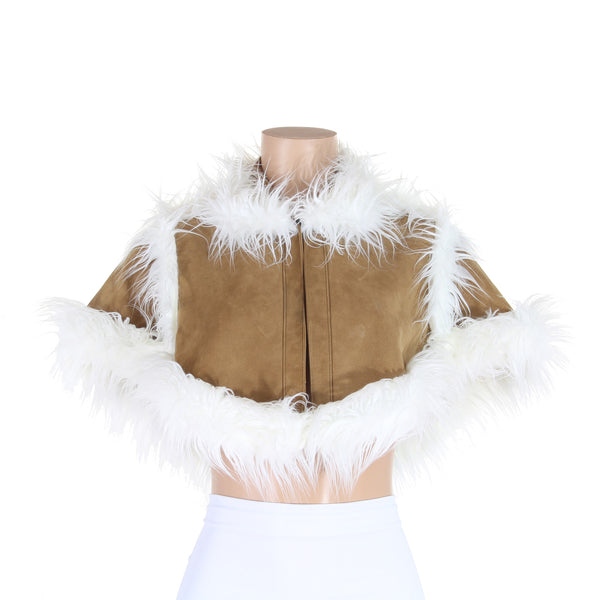 Tan Suede Leather Cape with White Faux Fur Trim - Kali Ku - 1