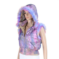 Multi-color Pastel Short Vest with Matching Faux Fur Trim