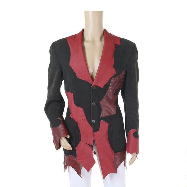 1102 Red Rocker Suit Jacket, with Leather Patchwork - Kali Ku - 1
