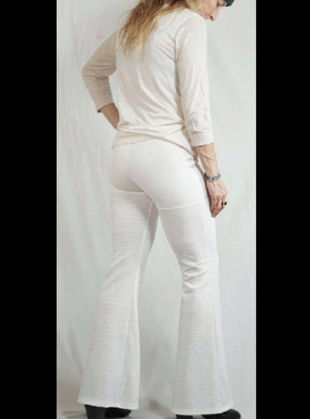 Beige Reptile Textured Pants