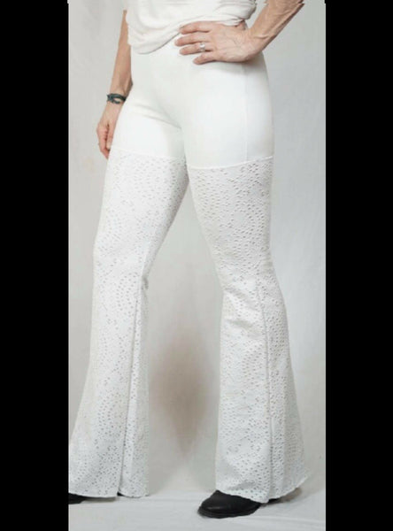 White on Beige Eyelet Pants