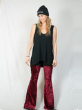Pulpy Smooth Red Velvet Pants