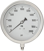 PIC Gauges Model 6001 Heavy Duty, All Stainless Steel, Pressure Gauge