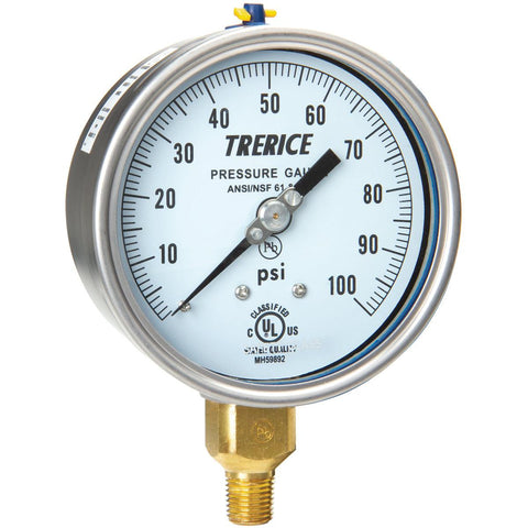 Trerice - 700B / 700LFB Pressure Gauge (Brass Internals, Lower Mount)