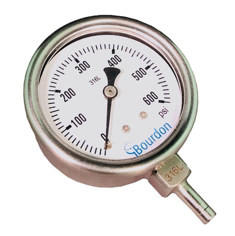 Bourdon - MEX3 - 1/4 Tube Stub Connection - Pressure Gauge