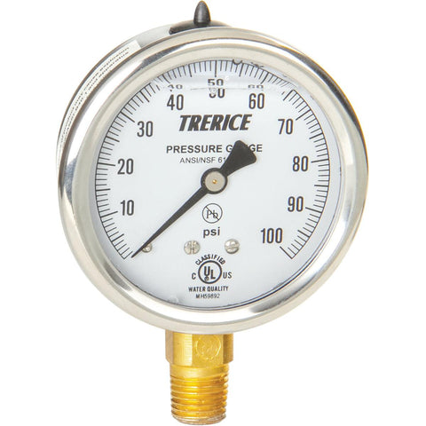 Trerice - D82LFB Pressure Gauge (Liquid Filled, Lower Connection)