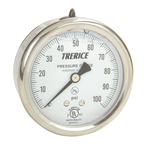 Trerice - D82LFB Pressure Gauge (Liquid Filled, Back Connection)