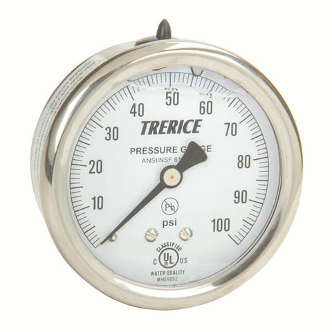 Trerice - 700B / 700LFB Pressure Gauge (Brass Internals, Back Mount)