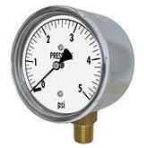 PIC - Model LP1 - Low Pressure Gauge, Chrome Plated Steel Case, Lower Mount