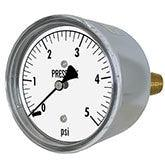 PIC - Model LP2 - Low Pressure Gauge, Chrome Plated Steel Case, Center Back Mount
