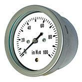 PIC - Model LP2-SS - All Stainless Steel, Low Pressure Gauge, Center Back Mount