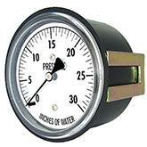 PIC - Model LP3 - Low Pressure Gauge, Chrome Plated Steel Case, Center Back Mount with U-Clamp