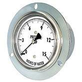 PIC - Model LP4 - Low Pressure Gauge, Chrome Plated Steel Case, Center Back Mount with Front Flange